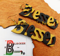Blessed Earrings Wooden Jewelry Back Gold Handmade