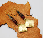 Ethnic Earrings Hammered Jewelry Beaded Red Gold