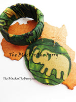Elephant African Ankara Bracelet Earrings Green Black Gold Women Jewelry Set The Blacker The Berry®