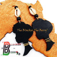 African Earrings Long Women Silhouette Jewelry Black