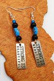 Strong is Beautiful Earrings Silver Blue Black Inspirational Earrings Gift Ideas