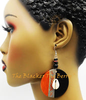 Wooden Hand Painted Earrings Black Silver Bronze Jewelry Women
