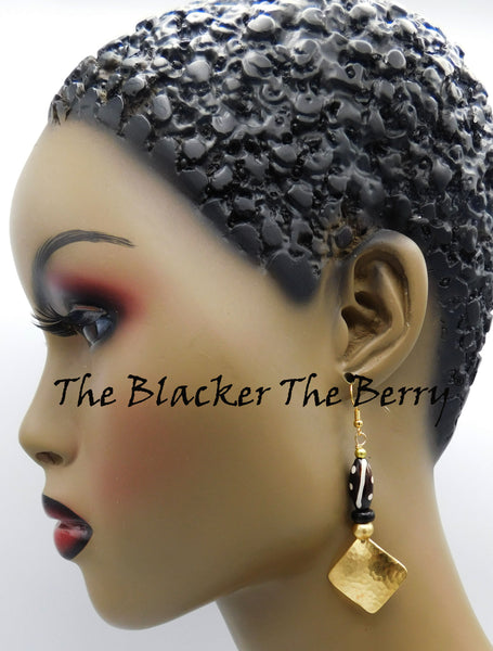 Hammered Earrings Gold Tone Brass Jewelry The Blacker The Berry®