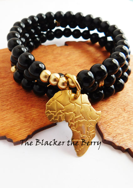 African Bracelets Black Gold Jewelry Set Women