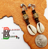 African Krobo Beaded  Cowrie Clip On Ethnic Earrings Women Jewelry