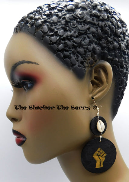 Black Power Fist Earrings Hand Painted Jewelry Black Gold Black Owned Business