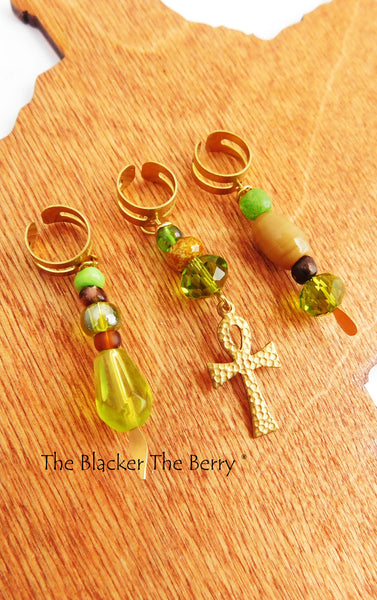Ankh Hair Jewelry Accessories  Locs Beaded Green Gold The Blacker The Berry®