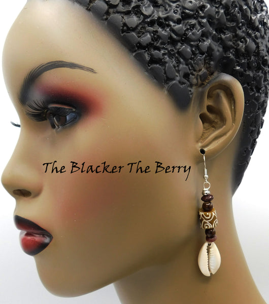 African Cowrie Shell Beaded Earrings Women Jewelry