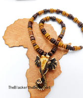 Elephant Necklace Wooden Beaded Men Jewelry SALE