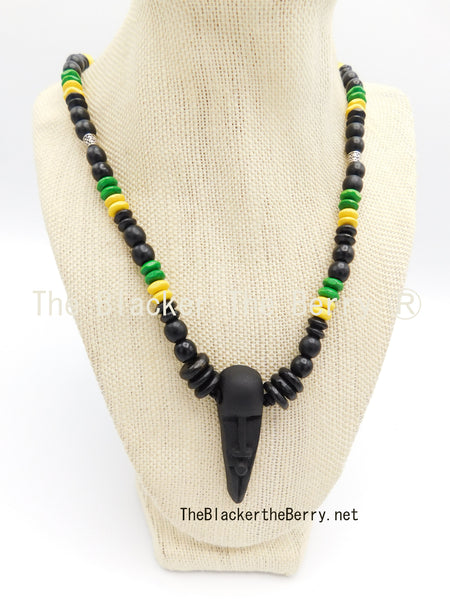 Jamaican Necklace Green Yellow Black Face Pendant Jewelry