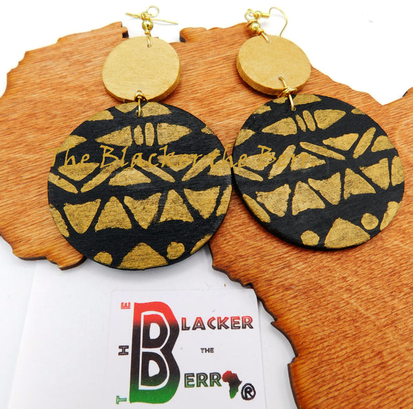 Ethnic Earrings Black Gold Women Jewelry Dangle