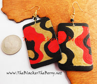 Hand Painted Earrings Red Black Gold Women Jewelry Handmade