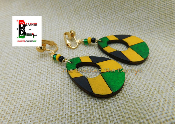 Jamaica Wooden Teardrop Clip On Earrings Green Yellow Black Handmade Hand Painted Jewelry