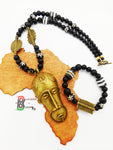 African Men Necklace Mask Black White Brass Ethnic Jewelry Set Bracelet