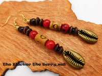 Cowrie Shell Earrings Brass Beaded Jewelry Red Brown Long Ethnic