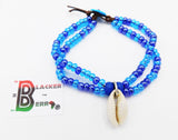 Ethnic Anklet Cowrie Shell Blue Beaded Jewelry Women