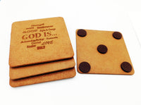 Christian Coasters Wooden Handmade Square Home Decor Set of 4
