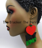 Large Loving My Kinks Earrings RBG Wooden Hand Painted Jewelry B.O.B