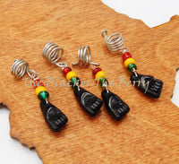 Black Power Fist Hair Accessories Loc Jewelry Dreads Rasta Set of 4 BLM Silver