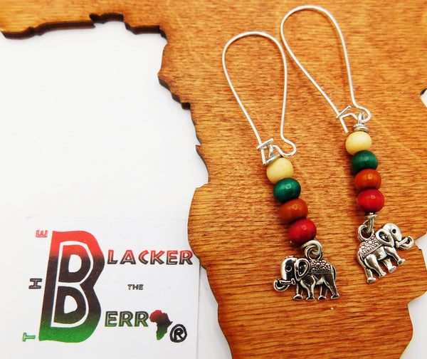 Elephant Earrings Beaded Jewelry Women Long Silver