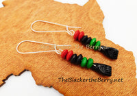 Black Power Fist RBG Earrings Pan African Beaded Jewelry Silver