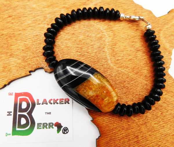 Women Stone Bracelet Black Orange Ethnic Jewelry