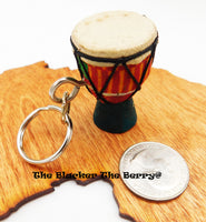 African Drum Keychain Car Accessories Gift Ideas Blue Djembe