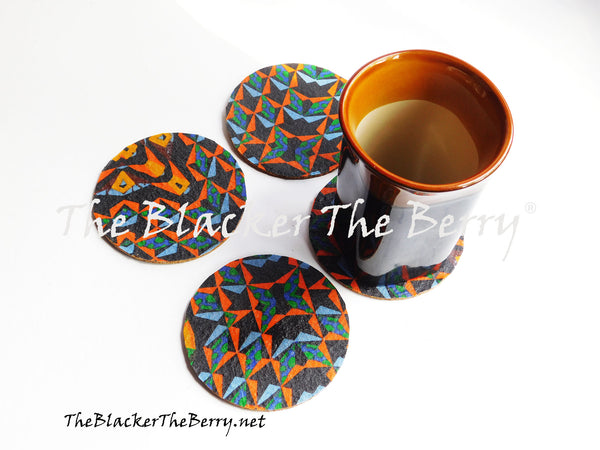 African Coasters Blue Set of 4 Home Decor Kitchen The Blacker The Berry®