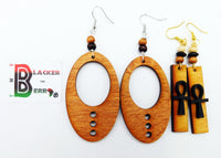 Ankh Earrings Wooden Ethnic Women Jewelry