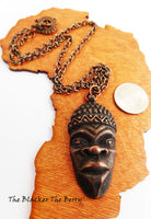 African Mask Antique Copper Chain Men Jewelry