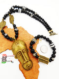 African Men Necklace Mask Black White Brass Ethnic Jewelry Set Bracelet Fathers Day Sale