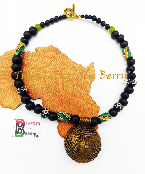 African Men Choker Necklace Ethnic Jewelry Black Green Brass The Blacker The Berry®