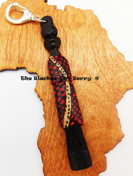 African Wooden Ebony Keychain Carved Purse Kwanzaa Gift Ideas Black Owned Business
