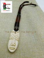 African Mask Necklace Beaded Jewelry Long Wooden Carved OOAK Black Owned
