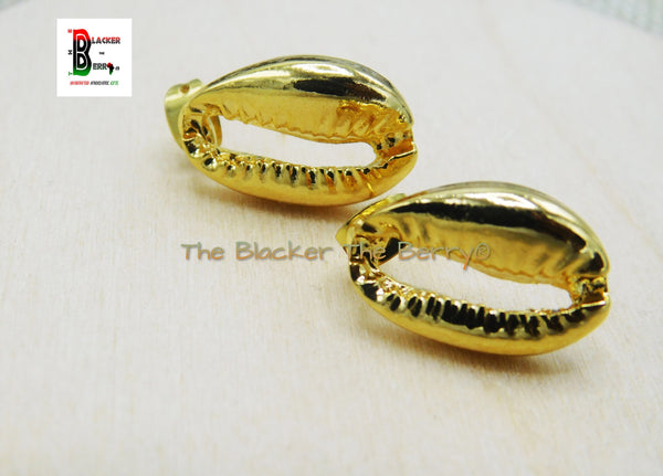 Gold Cowrie Post Earrings Stainless Steel Jewelry