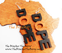 Dope Earrings Black Handmade Wooden Women Jewelry
