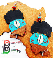 African Earrings Women Silhouette Jewelry Blue Red The Blacker The Berry®