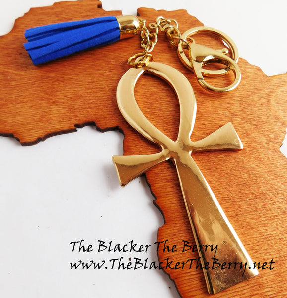Ankh Purse Charm Gold Key Chain Blue Women Car Accessories