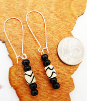 Black White Earrings Beaded Ethnic Jewelry Women