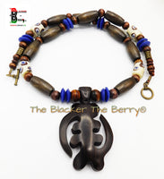 African Gye Nyame Necklaces Beaded Men Jewelry Ebony Wood Brown Blue