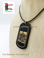 King & Queen Necklaces Wooden Dog Tags Handmade by The Blacker The Berry ®