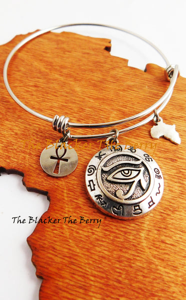 African Egyptian Silver Bracelets Charm Jewelry Bangles Adjustable