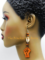 Fist Earrings Wood Women Jewelry Long