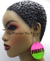 Fierce Earrings Hand Painted Pink Green Black Owned Business