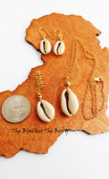 Cowrie Jewelry Set Gold Necklace Earrings Hair Women