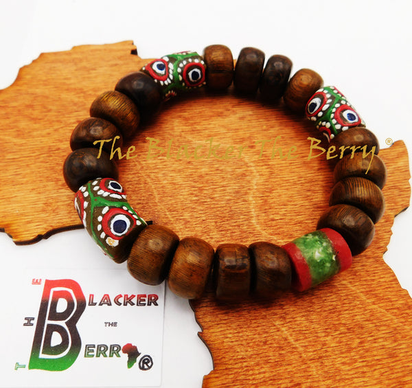 Men Bracelet Ethnic African Jewelry Wooden Large Beaded Red