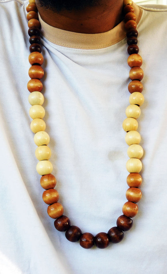 Men Necklace Large Beaded Wooden Jewelry