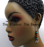 Cowrie Earring Wooden Beaded Turquoise Jewelry Handmade Black Owned Business