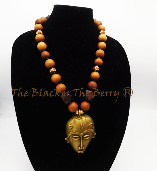 African Men Necklace Large Mask Jewelry Large Beads Ethnic Sandal wood