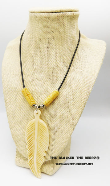 Ethnic Bone Feather Necklace Women Jewelry Adjustable